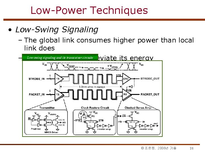 Low-Power Techniques • Low-Swing Signaling – The global link consumes higher power than local