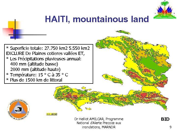 HAITI, mountainous land * Superficie totale: 27. 750 km 2 5. 550 km 2