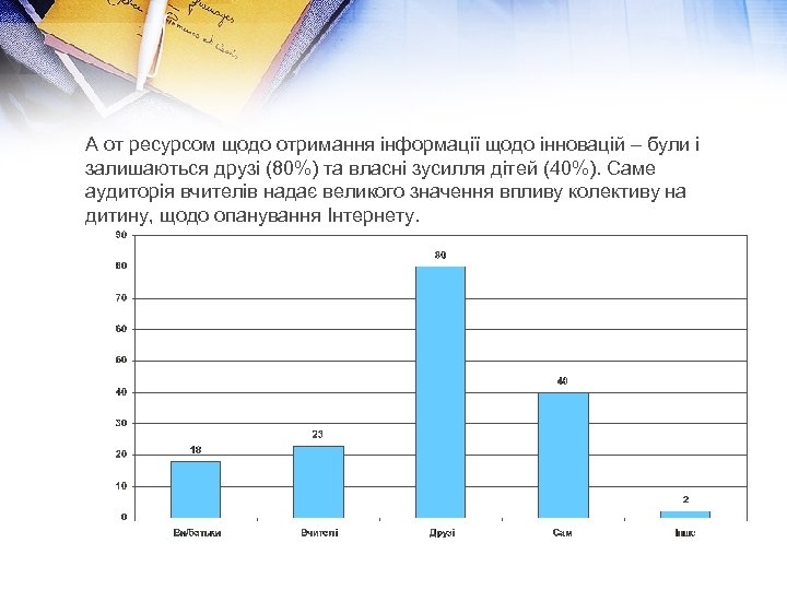 А от ресурсом щодо отримання інформації щодо інновацій – були і залишаються друзі (80%)