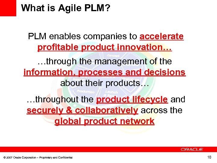 What is Agile PLM? PLM enables companies to accelerate profitable product innovation… …through the
