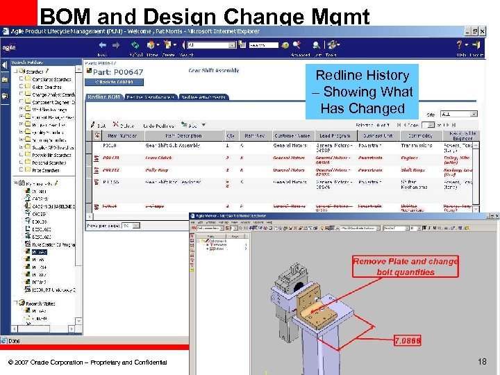BOM and Design Change Mgmt Redline History – Showing What Has Changed © 2007