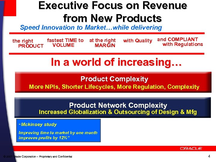 Executive Focus on Revenue from New Products Speed Innovation to Market…while delivering fastest TIME