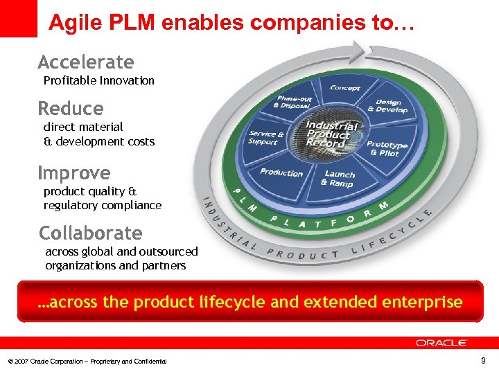 Agile PLM enables companies to… Accelerate Profitable Innovation Reduce direct material & development costs