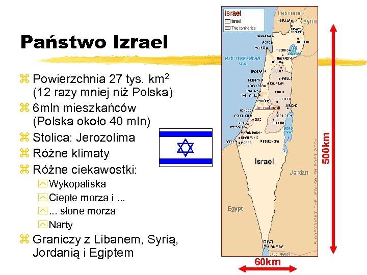 Państwo Izrael 500 km z Powierzchnia 27 tys. km 2 (12 razy mniej niż