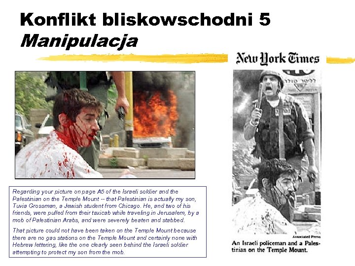 Konflikt bliskowschodni 5 Manipulacja Regarding your picture on page A 5 of the Israeli