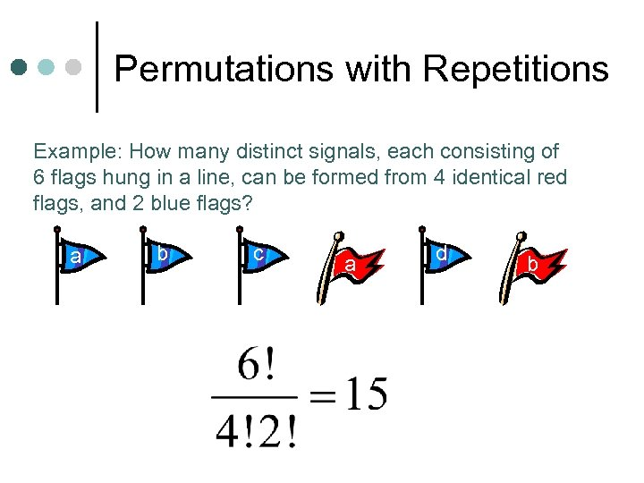 Permutations with Repetitions Example: How many distinct signals, each consisting of 6 flags hung