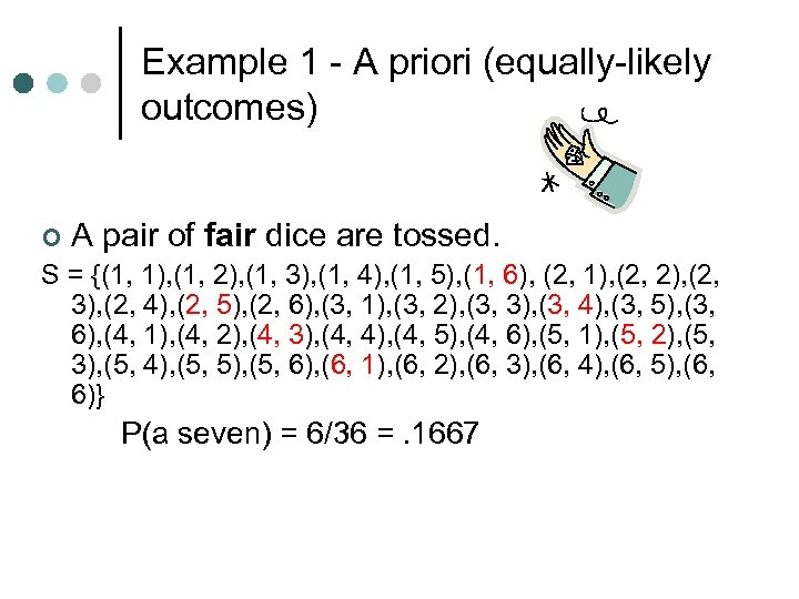 Example 1 - A priori (equally-likely outcomes) ¢ A pair of fair dice are