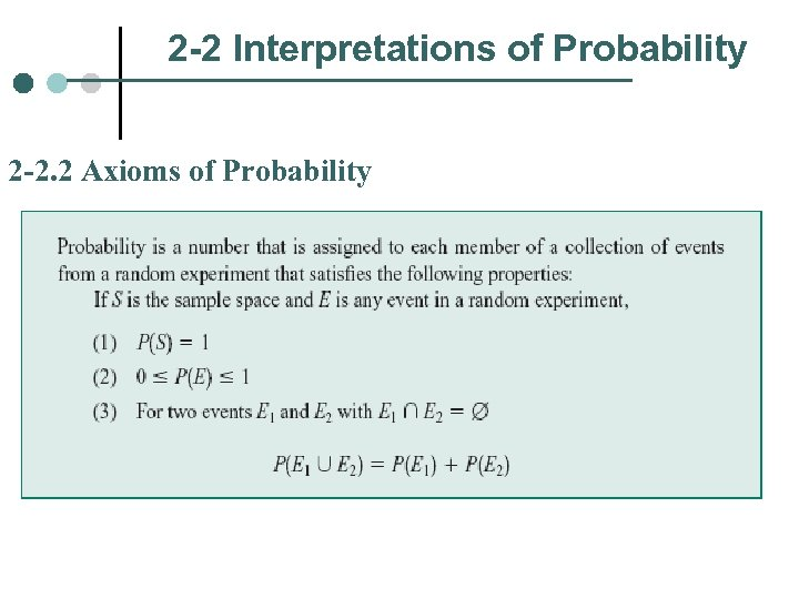 2 -2 Interpretations of Probability 2 -2. 2 Axioms of Probability