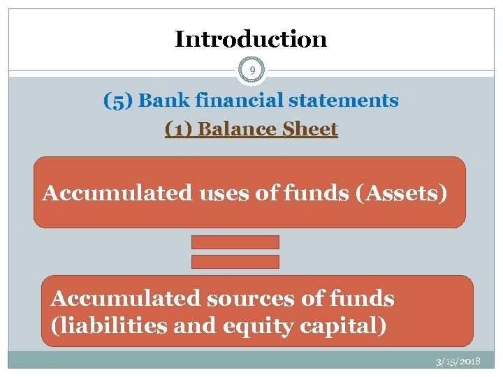 Introduction 9 (5) Bank financial statements (1) Balance Sheet Accumulated uses of funds (Assets)