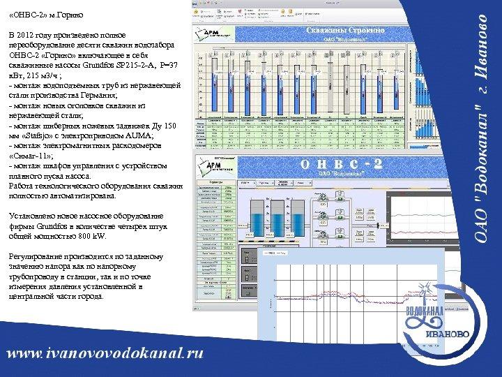 «ОНВС-2» м. Горино В 2012 году произведено полное переоборудование десяти скважин водозабора ОНВС-2