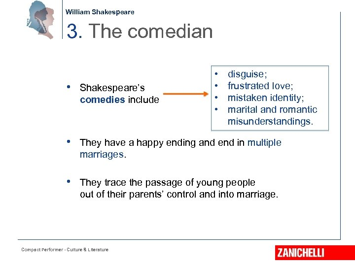 William Shakespeare 3. The comedian • Shakespeare's comedies include • • disguise; frustrated love;