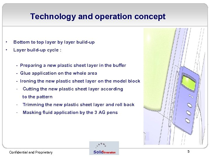 Technology and operation concept • Bottom to top layer by layer build-up • Layer