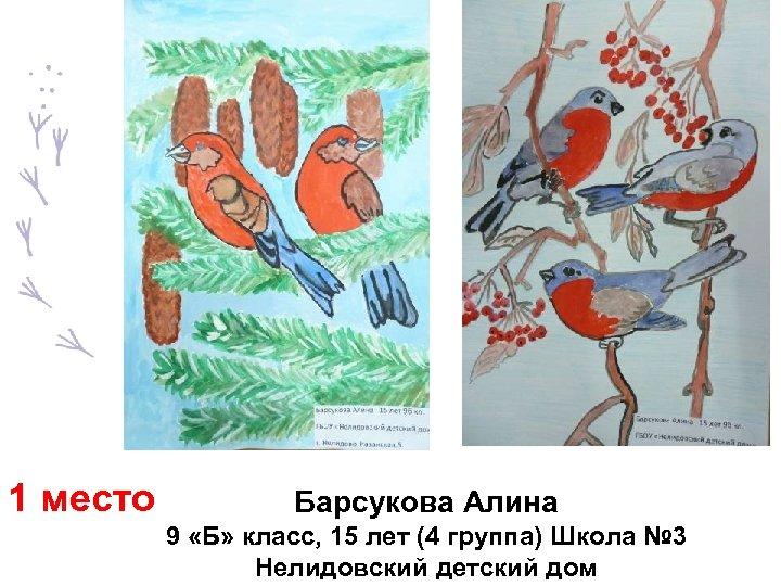 1 место Барсукова Алина 9 «Б» класс, 15 лет (4 группа) Школа № 3