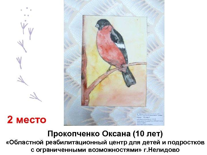 2 место Прокопченко Оксана (10 лет) «Областной реабилитационный центр для детей и подростков с
