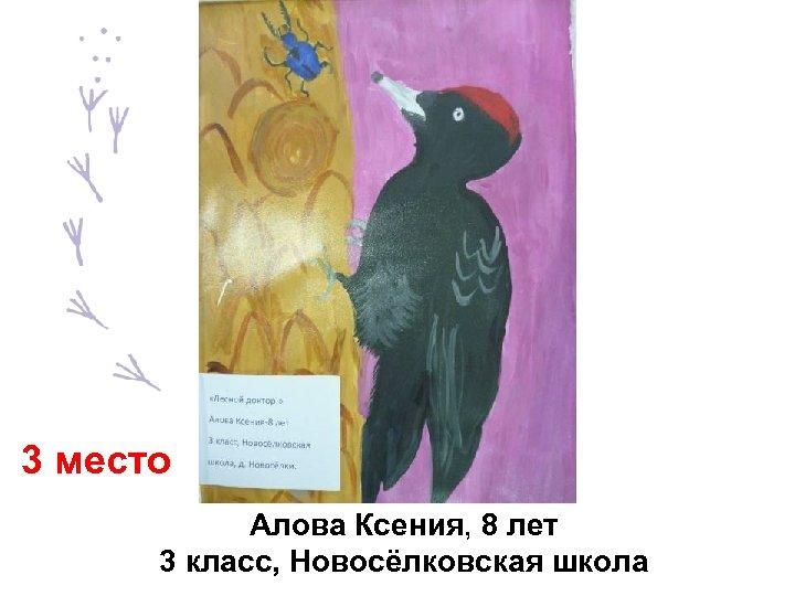 3 место Алова Ксения, 8 лет 3 класс, Новосёлковская школа