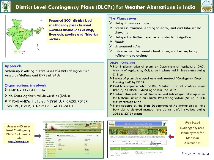 District Level Contingency Plans (DLCPs) for Weather Aberrations in India Prepared 500* district level