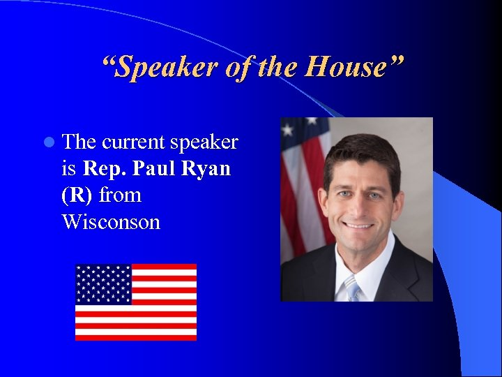 """Speaker of the House"" l The current speaker is Rep. Paul Ryan (R) from"