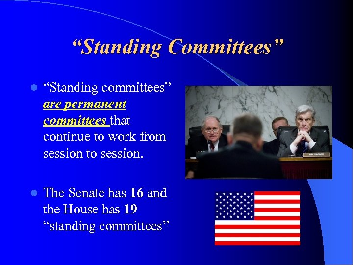 """Standing Committees"" l ""Standing committees"" are permanent committees that continue to work from session"