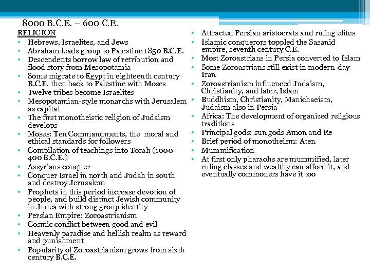 8000 B. C. E. – 600 C. E. RELIGION • • • Hebrews, Israelites,