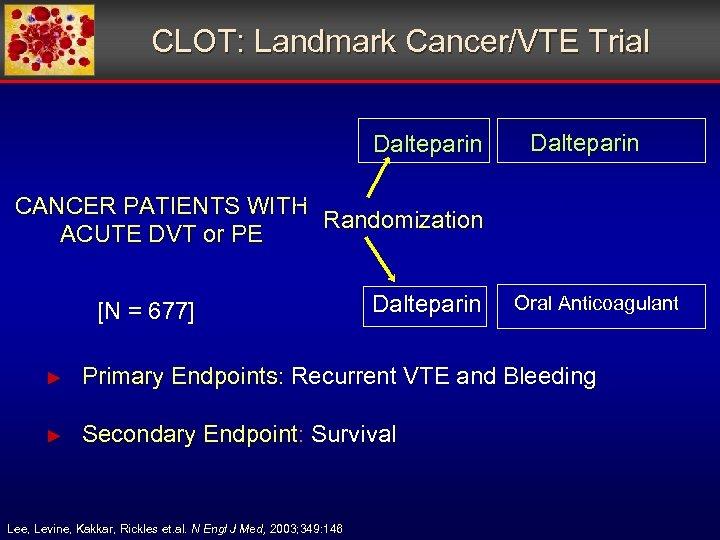 CLOT: Landmark Cancer/VTE Trial Dalteparin CANCER PATIENTS WITH Randomization ACUTE DVT or PE [N
