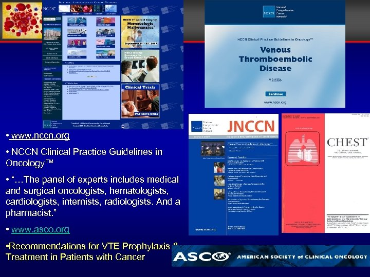 """• www. nccn. org • NCCN Clinical Practice Guidelines in Oncology™ • """"…The"""