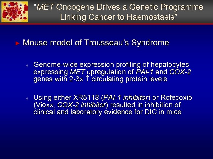 """""""MET Oncogene Drives a Genetic Programme Linking Cancer to Haemostasis"""" ► Mouse model of"""