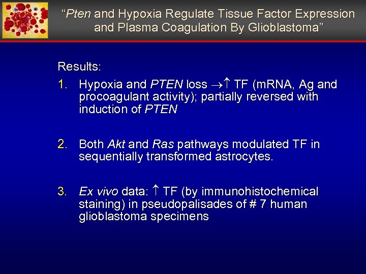 """""""Pten and Hypoxia Regulate Tissue Factor Expression and Plasma Coagulation By Glioblastoma"""" Results: 1."""