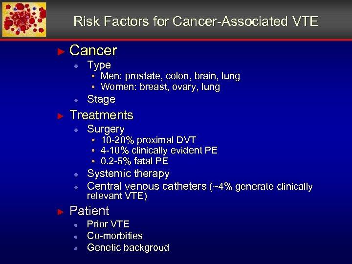 Risk Factors for Cancer-Associated VTE ► Cancer ● ● ► Type Stage • Men: