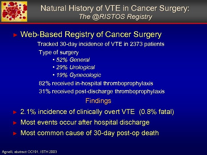 Natural History of VTE in Cancer Surgery: The @RISTOS Registry ► Web-Based Registry of