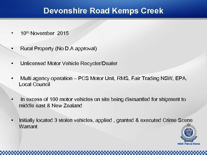 Devonshire Road Kemps Creek • 10 th November 2015 • Rural Property (No D.