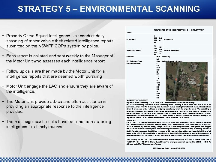 STRATEGY 5 – ENVIRONMENTAL SCANNING SUSPECTED OF VEHICLE REBIRTHING – HORSLEY PARK • Property