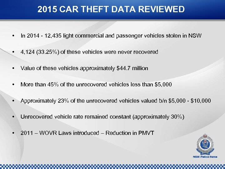 2015 CAR THEFT DATA REVIEWED • In 2014 - 12, 435 light commercial and