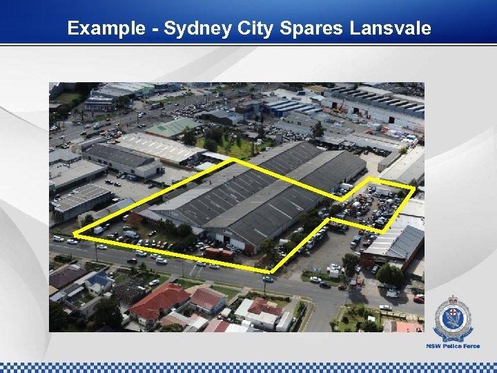 Example - Sydney City Spares Lansvale