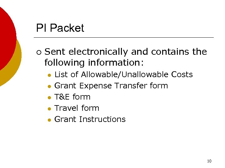 PI Packet ¡ Sent electronically and contains the following information: l l l List