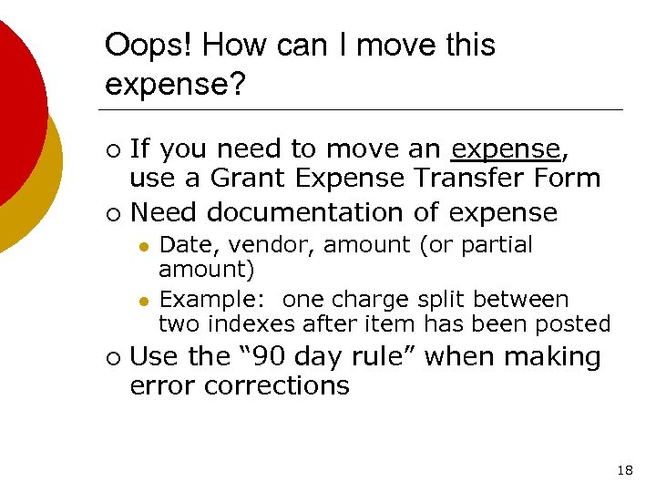 Oops! How can I move this expense? If you need to move an expense,
