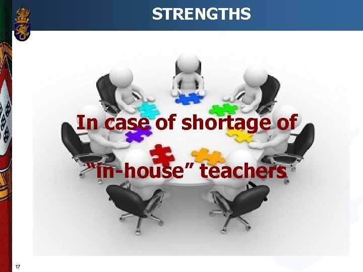 "STRENGTHS In case of shortage of ""in-house"" teachers 17"