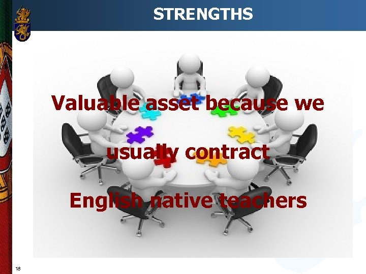 STRENGTHS Valuable asset because we usually contract English native teachers 18