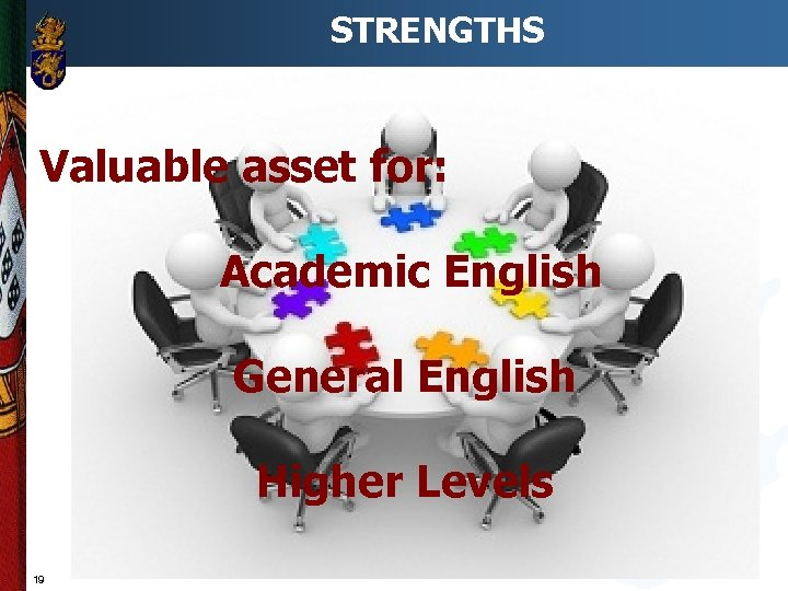 STRENGTHS Valuable asset for: Academic English General English Higher Levels 19