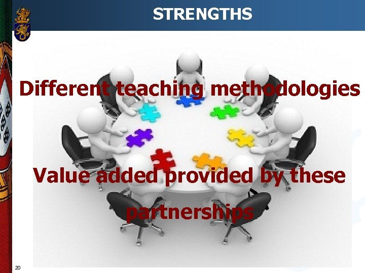 STRENGTHS Different teaching methodologies Value added provided by these partnerships 20