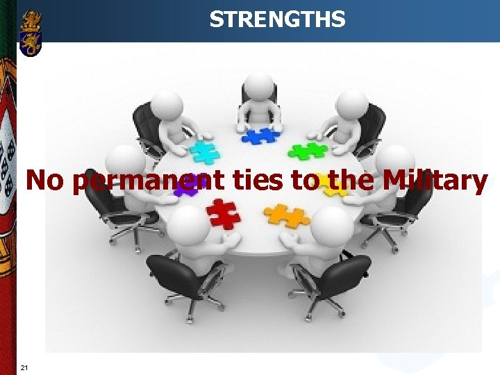 STRENGTHS No permanent ties to the Military 21