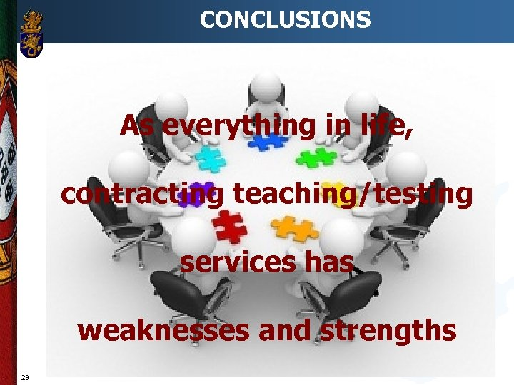CONCLUSIONS As everything in life, contracting teaching/testing services has weaknesses and strengths 23