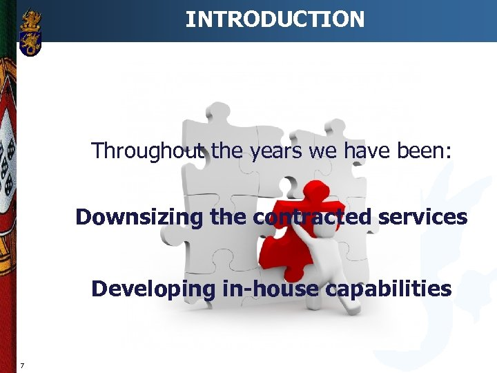 INTRODUCTION Throughout the years we have been: Downsizing the contracted services Developing in-house capabilities