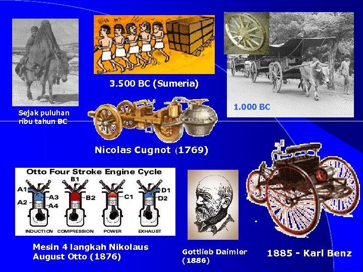 3. 500 BC (Sumeria) 1. 000 BC Sejak puluhan ribu tahun BC Nicolas Cugnot