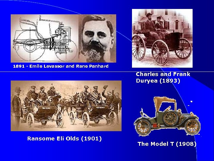 1891 - Emile Levassor and Rene Panhard Charles and Frank Duryea (1893) Ransome Eli