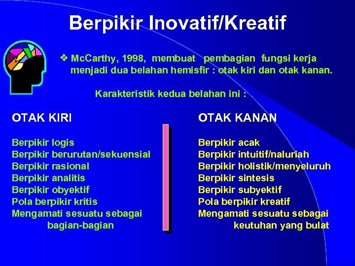 Berpikir Inovatif/Kreatif otak v Mc. Carthy, 1998, membuat pembagian fungsi kerja menjadi dua belahan