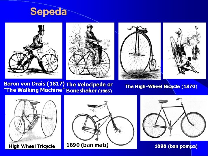 "Sepeda Baron von Drais (1817) The Velocipede or ""The Walking Machine"" Boneshaker (1865) High"