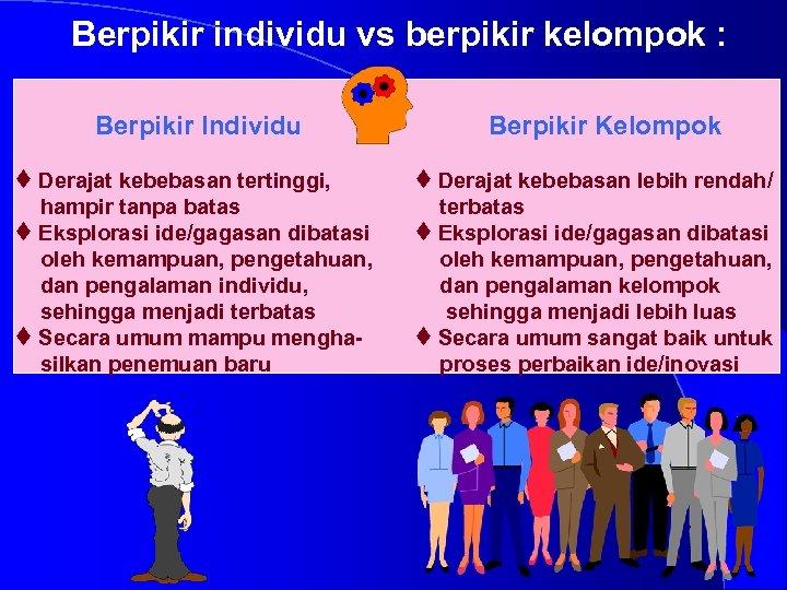 Berpikir individu vs berpikir kelompok : Berpikir Individu t Derajat kebebasan tertinggi, hampir tanpa