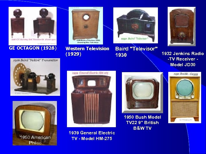 GE OCTAGON (1928) 1950 American Philco Western Television (1929) 1939 General Electric TV -