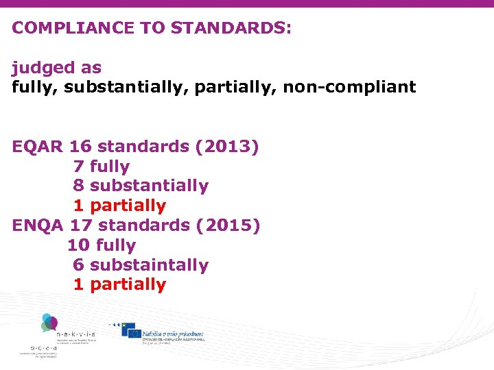 COMPLIANCE TO STANDARDS: judged as fully, substantially, partially, non-compliant EQAR 16 standards (2013) 7