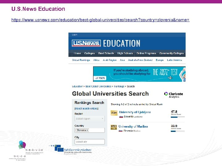 U. S. News Education https: //www. usnews. com/education/best-global-universities/search? country=slovenia&name=